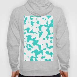 Large Spots - White and Turquoise Hoody