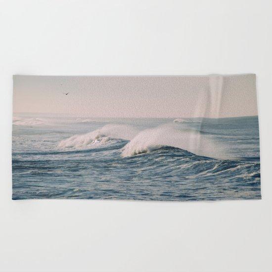 stormy waters Beach Towel