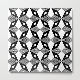 Linocut printmaking pattern black and white scandinavian scandi hipster cute geometric art Metal Print