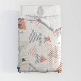 Abstract Modern Blue, Orange, Yellow Triangles Pattern Comforters