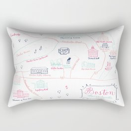 Illustrated Calligraphy Map Rectangular Pillow