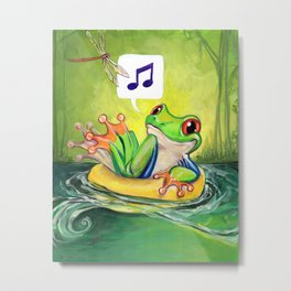 Lazy River Frog Metal Print