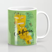postcard Mugs featuring Postcard from California by Christiane Engel
