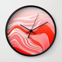 Red Abstraction Wall Clock