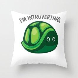 Introverted turtle pun joke gift Throw Pillow