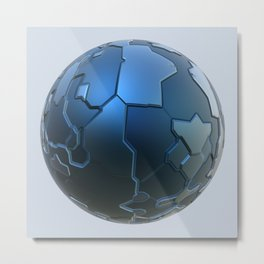 Blue technology ball Metal Print