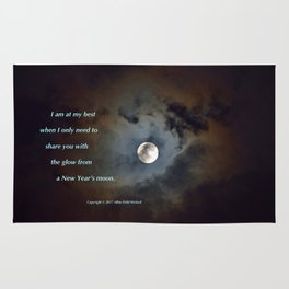 """Shadowy Moon #44"" with poem: New Year's Moon Rug"