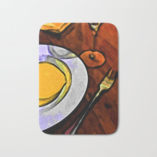 Gold Lemon and Fork Bath Mat