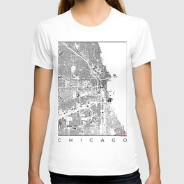 Chicago Map Schwarzplan Only Buildings T-shirt