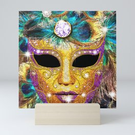 Golden Carnival Mask Mini Art Print