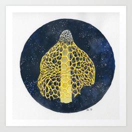 Veiled Mushroom on Galaxy Background Art Print