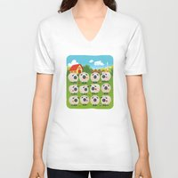 sheep V-neck T-shirts featuring Sheep by Elle Moz