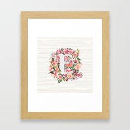 Initial Letter E Watercolor Flower Framed Art Print