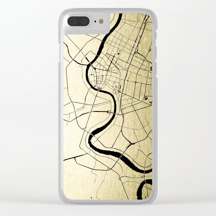 Bangkok Thailand Minimal Street Map - Gold Metallic and Black Clear iPhone Case
