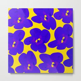 Blue Retro Flowers Yellow Background #society6 #decor #buyart Metal Print