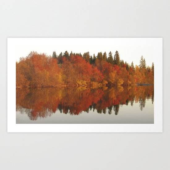 Colorful autumn trees reflection in the lake Art Print