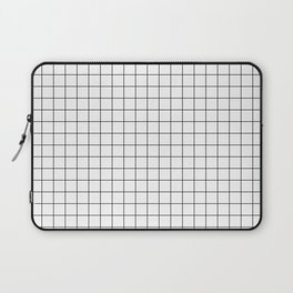 Black and White Thin Grid Graph Laptop Sleeve