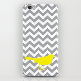 Yellow Bird on Gray Chevron iPhone Skin