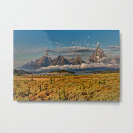 TheGrand Teton National Park in the Fall Panorama Metal Print
