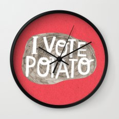 I VOTE POTATO Wall Clock