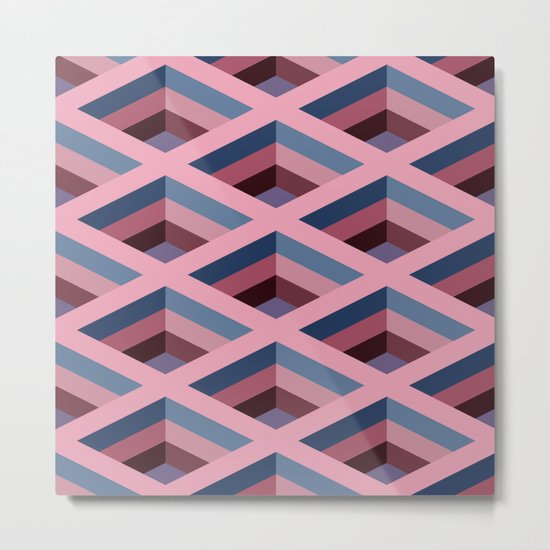 SQUARE HOLES / pale pink / marine blue / ancient pink / violet dark Metal Print