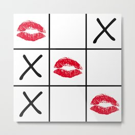 Lips Tic Tac Toe Metal Print