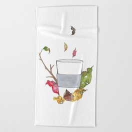 Tea break in autumn Beach Towel