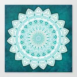 White Mandala on Blue Green Distressed Background with Detail and Textured Canvas Print
