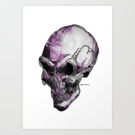 Skull art in purple Art Print