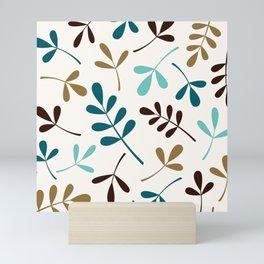 Assorted Leaf Silhouettes Teals Brown Gold Cream Mini Art Print