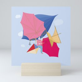 Flying Machine Air Balloon Skycycle Victorian Aircraft Mini Art Print