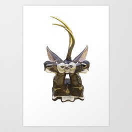 Trophy Head (Chocolate5OcularGoldenUniHorn) Art Print