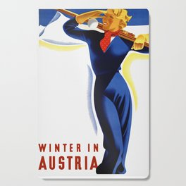 Vintage Winter in Austria Travel Cutting Board