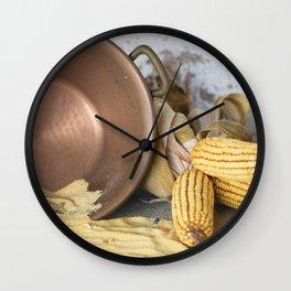 cob and pot with flour Wall Clock