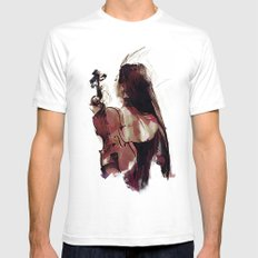 Strings White SMALL Mens Fitted Tee