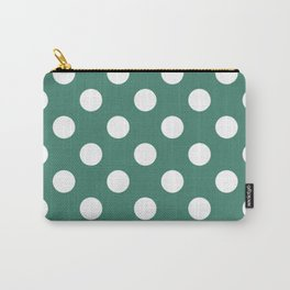 Viridian - green - White Polka Dots - Pois Pattern Carry-All Pouch