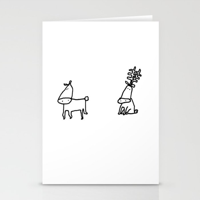 Cute Christmas Cards.Cute Christmas Cards Rein Dears 1 Stationery Cards By Bisondoodles