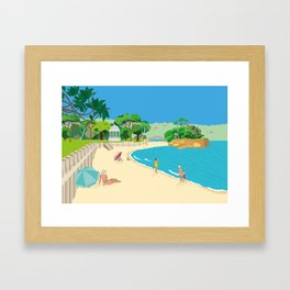 Modern Retro Art Print of Balmoral Beach, Sydney, Australia Framed Art Print