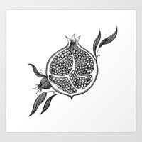 pomegranate Art Prints featuring Pomegranate by VOLPINE