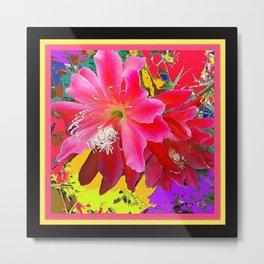 Black Design Tropical Pink Floral Art Metal Print