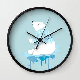 Polar bear with snowflakes Wall Clock