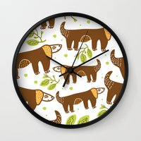 dogs Wall Clocks featuring Dogs by LOLIA-LOVA