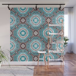 Portuguese Tiles Azulejos Aquamarine Black White Pattern Wall Mural