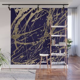 Elegant faux gold modern navy blue paint splatters Wall Mural