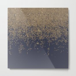 Navy Blue Gold Sparkly Glitter Ombre Metal Print