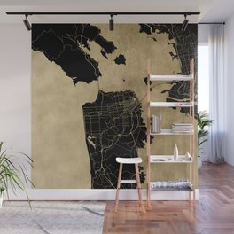 San Francisco California Black and Gold Map Wall Mural
