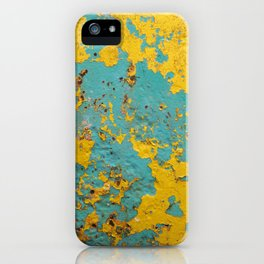 yellow and blue worn paint and rust texture iPhone Case