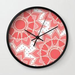 Coral ivory floral mandala black white polka dots Wall Clock