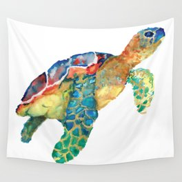 watercolour rainbow sea turtle Wall Tapestry