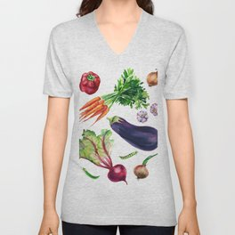 vegetables watercolor Unisex V-Neck